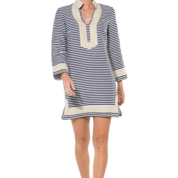 cceb4926ef Sail To Sable Gold Navy White Linen Tunic Dress
